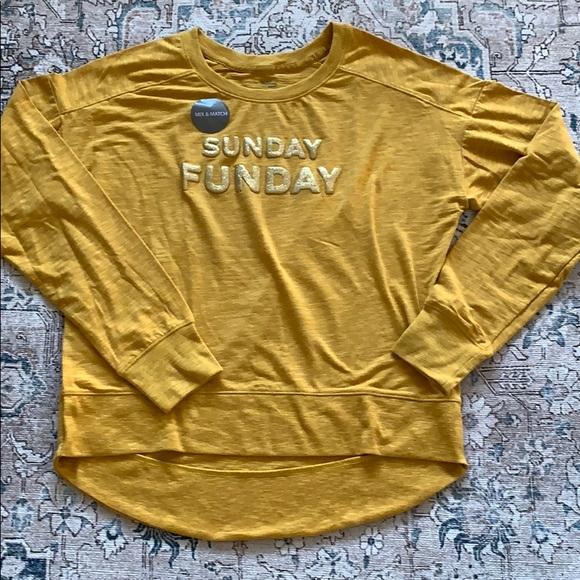 SUNDAY FUNDAY FALL Mustard Long Sleeve Shirt